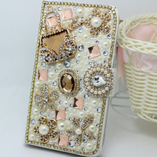 luxury Bling Handmade Glitter Rhinestone Pearl Leather Flip Wallet Protective Case For Samsung S10 S9 S20 S8 Plus Note10 9 8
