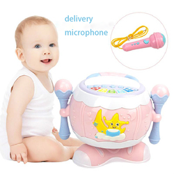 Childrens Joy Multi-rotation Drum Baby Music Poetry Hand Drums Baby With Microphone Pat Drum Puzzle Early Education Toys