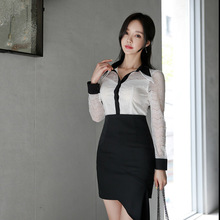 2019 Long Sleeve Lace Patchwork Blouse and Asymmetrical Mini Skirt Ladies Office Work Suit Autumn Contrast White Two Piece Set цена 2017