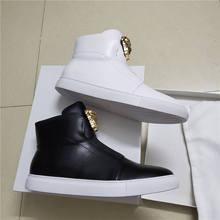 high quality New Famous Designer metal head Casual Shoes Genuine Leather Fashion Brand Men Flats Shoes Original Box Size 39-46 цена и фото