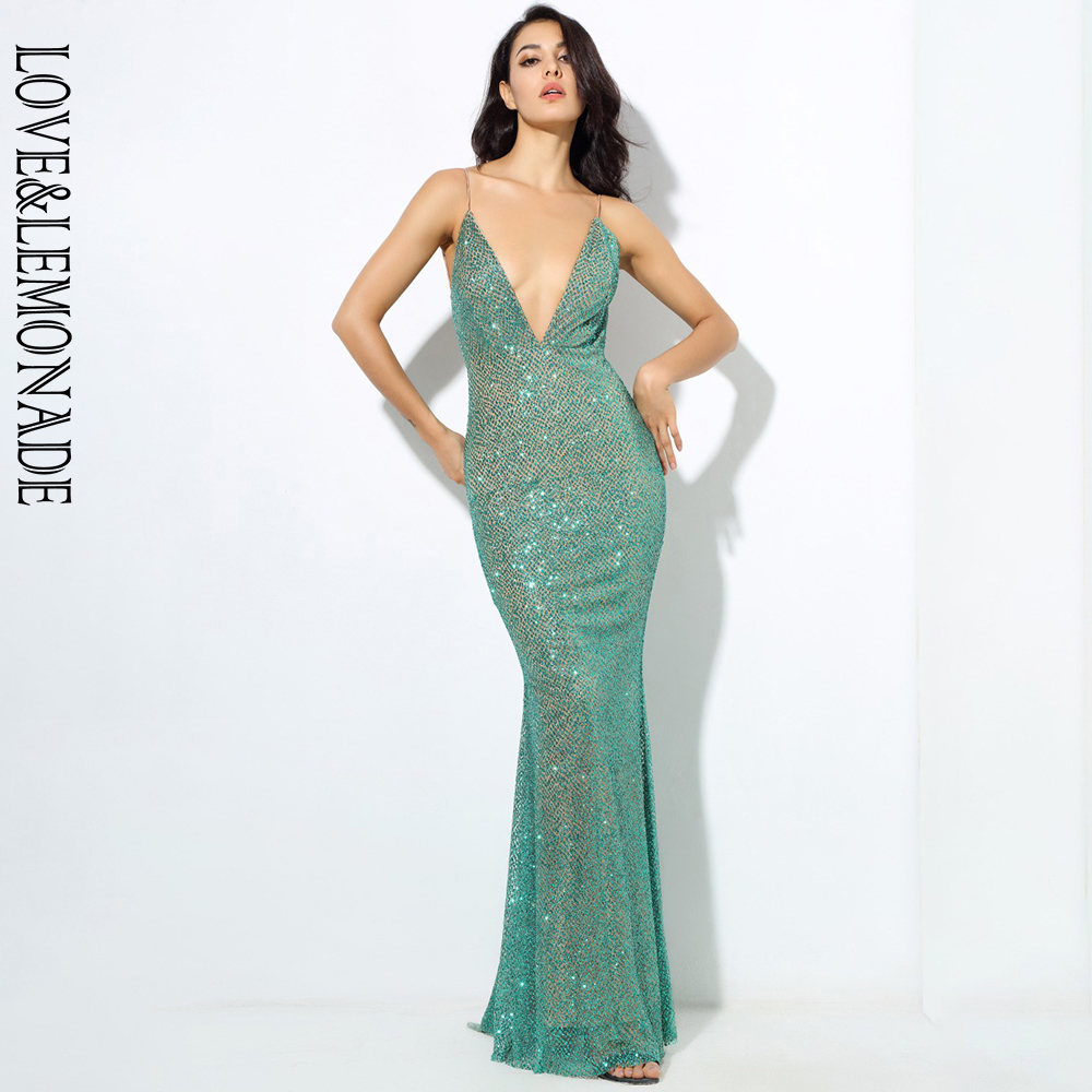 LOVE&LEMONADE  green  Deep V Collar Exposed Bead Material Long Dresses  LM80386-4