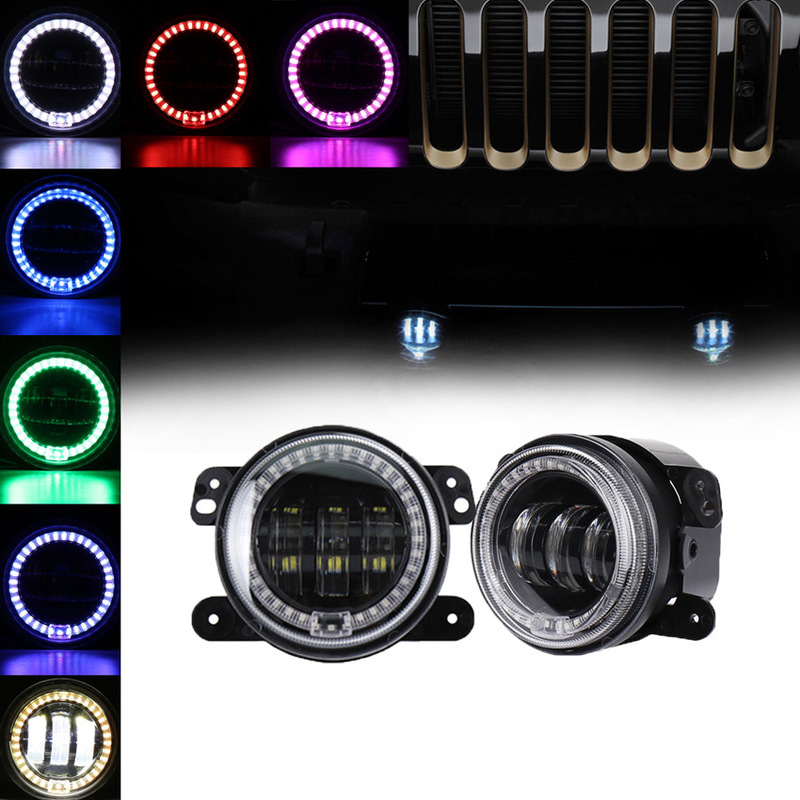 The Vectra Modified 30 W Round Led Fog Lamps With Color Angel Eyes Jeep Wrangler 4 Inch RGB Fog Lamps