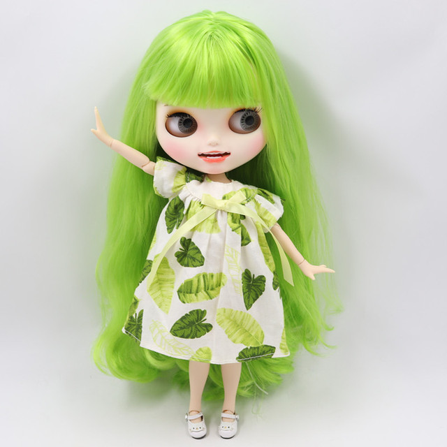 Blyth nude doll Carved lips Open mouth Matte customized face Green hair 1/6 Joint body ICY bjd DIY toy girl gift