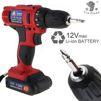 Electric Drill / Screwdriver AC 100 - 240V Cordless 12V  with 18 Gear Torque and Two-speed Adjustment Button for Handling Screws