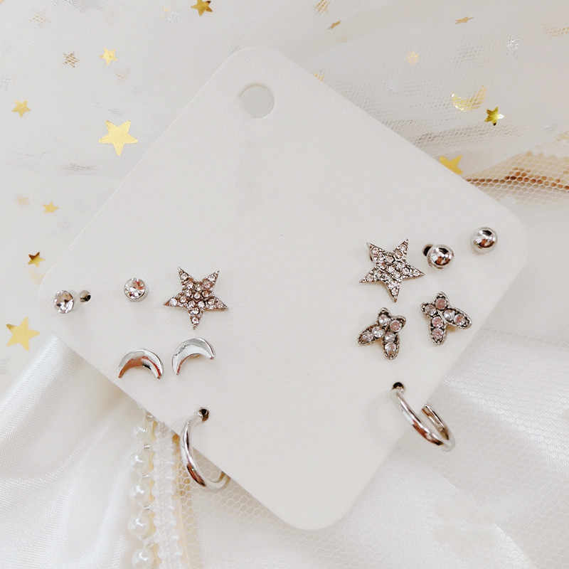 Multi-pair suit fashion butterfly star moon earrings