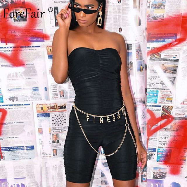 Forefair Black Sports Jumpsuit Women Sexy Strapless Ruched Slim Bodycon One Piece Bodysuit 2020 Summer Women Rompers