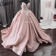 Розовое Бальное платье Бальные платья 2020 Милая white appliques/пятен