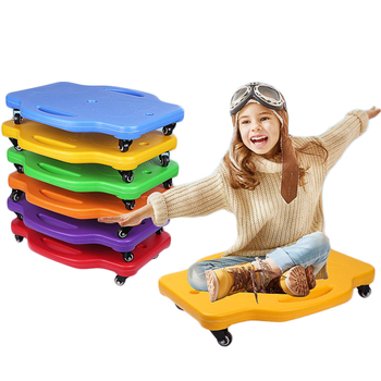 Children Balance Board Plastic Four-Wheeled Scooter Board with Safety Handles 360 Degree Rotating Wheels Kids Outdoor Sports Toy outdoor ride push exercise scooter children adult kickboard 2 wheels safety scooter fixed bar 360 degree street kid kick scooter