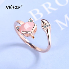 NEHZY 925 sterling silver new woman fashion jewelry high quality crystal zircon agate fox ring size adjustable ring