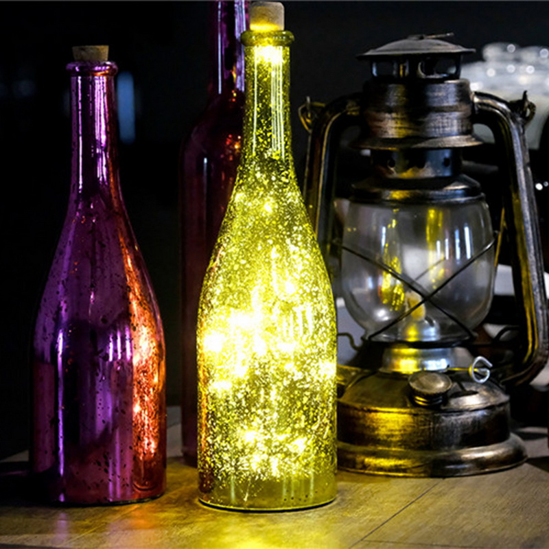 1/2m New Solar-powered Wine Bottle Cork-shaped String Starry Light 10 LED Night Fairy Light Lamp Party Halloween Decoration New