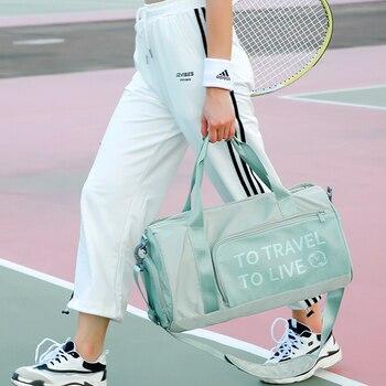 Bolsa De gimnasio para mujer bolsa De deporte De entrenamiento para mujer 2019 bolsa De Yoga De Fitness separación De ropa seca y húmeda bolso De viaje para mujer