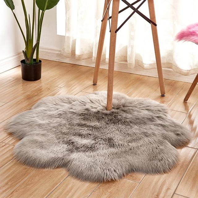 1pc Antiskid Soft Faux Fur Wool Carpet Indoor Sheepskin Rug Modern Carpet Mat Blue White  Gray Living Room 30x30cm 5