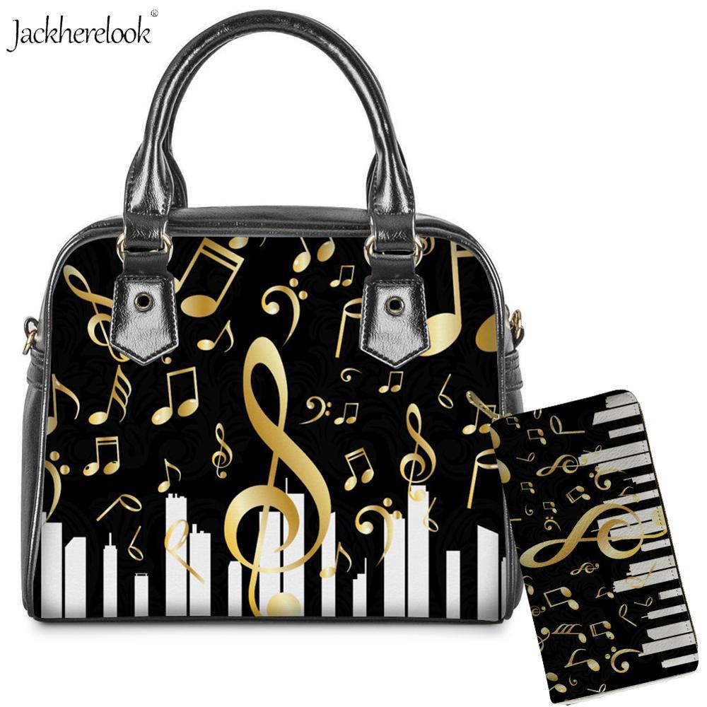 2Pcs/set Musical Notes Shoulder/messenger Bag Purse Pu Leather Handle Totes and Art Musical Wallet Piano Keyboard Print Handbag