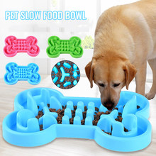 Bone-shaped Silicone Cat Dog Bowl Device Pet Slow Food Feeder Anti-choke Bowl Puppy Kitten Food Feeding(China)