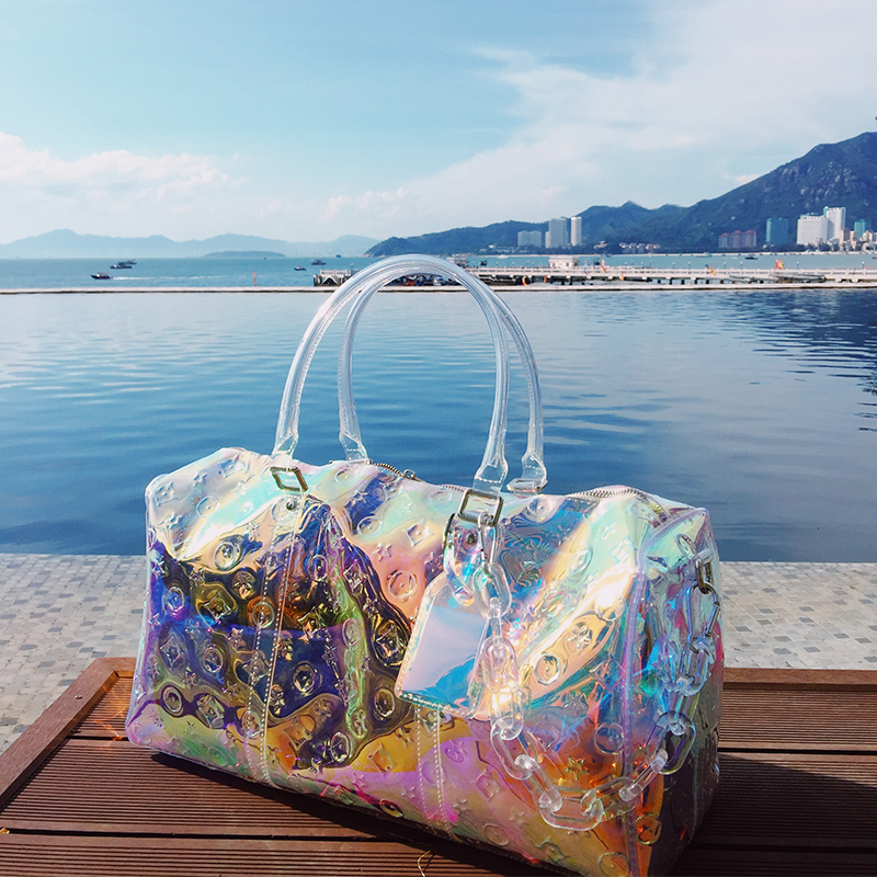 Luxury Brand Rainbow Laser Travel Bag 2019 New Men And Women Fitness Bags Colorful Acrylic Chain Tote Bag Transparent Bags
