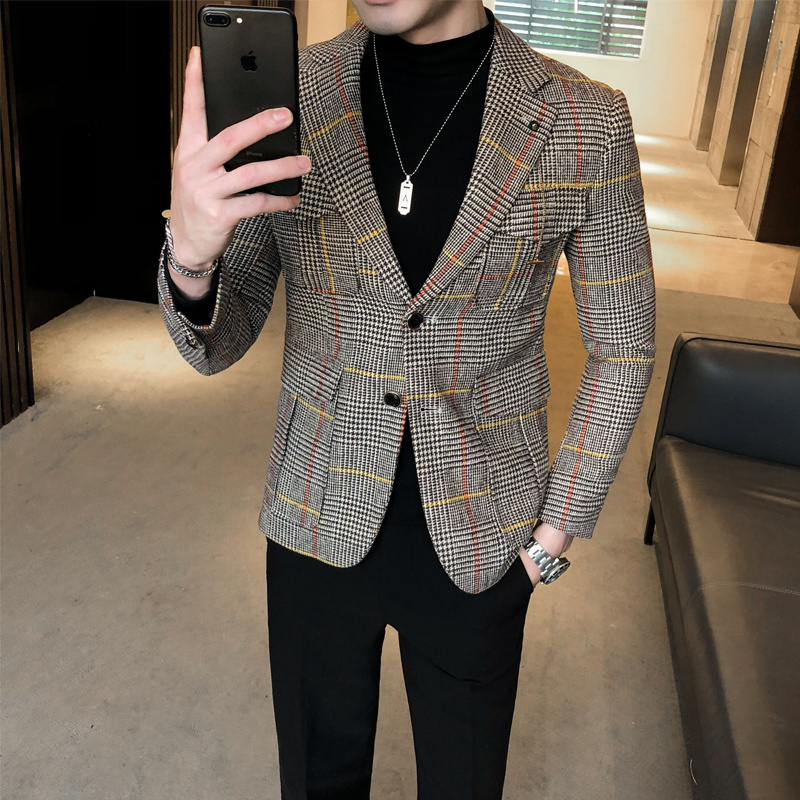 2020 Autumn Plaid Men Blazers Casual Slim Fit Suit Jacket Woolen Wedding Dress Coat Business Streetwear Social Costume Homme 2