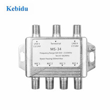 3x4 DiSEqC Satellite Stand Alone MultiSwitch FTA TV LNB Switch Cascade 3 in 4 multiswitch 2 LNB 1 TERR IN For DVB S2 and DVB T2