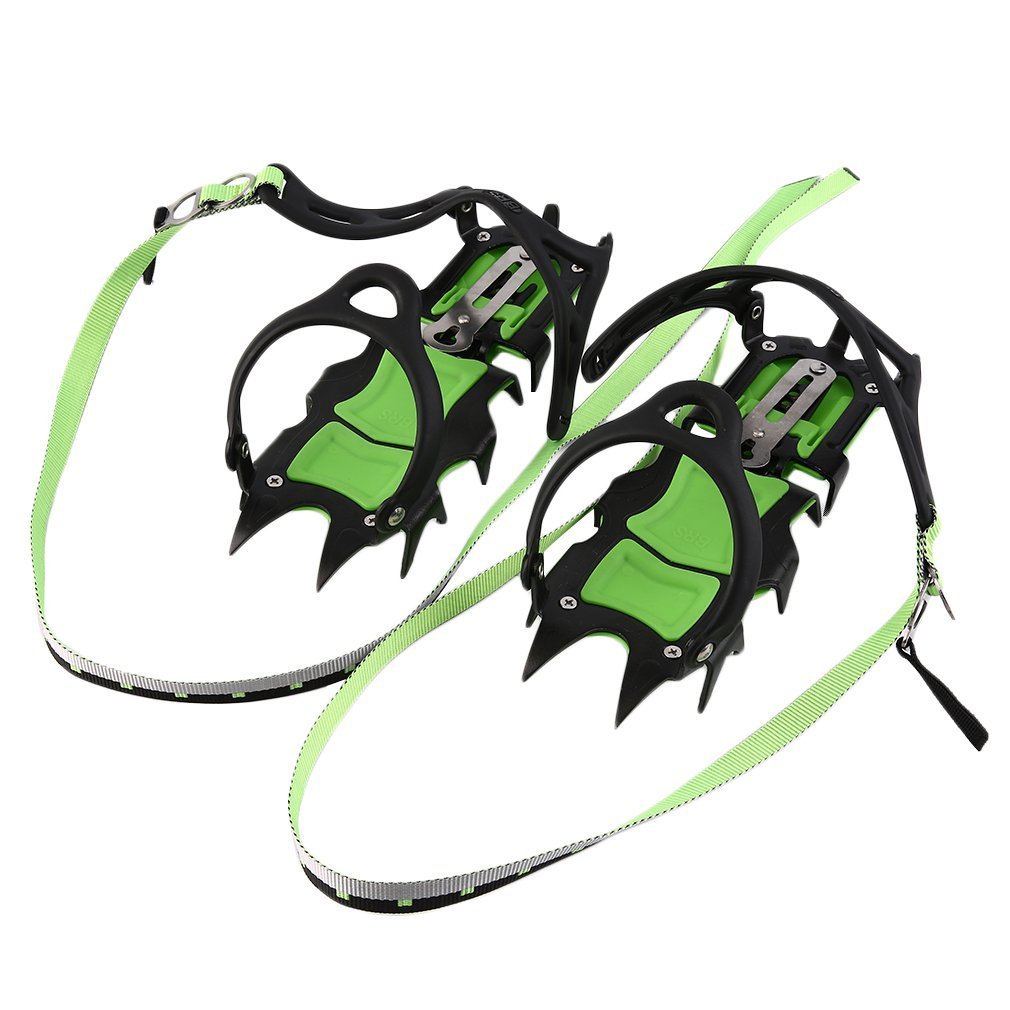 Outdoor Climbing Antiskid 14 Tooth Crampons Winter Walk 14 Teeth Ice Fishing Snowshoes Manganese Steel Material Promotion