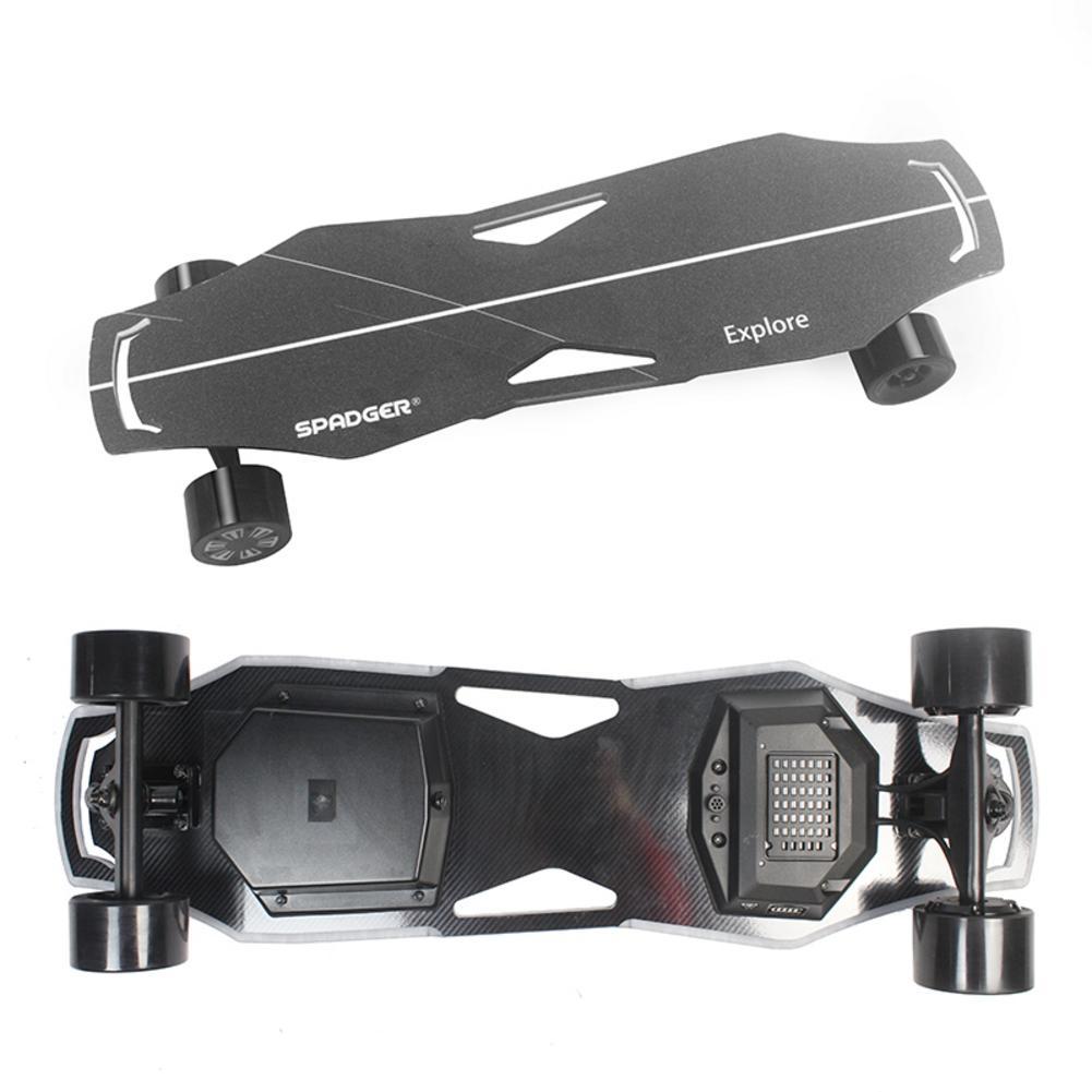 For SPADGER Four-wheel Electric Skateboard Black Cool Style Skateboard 23 Mph Two Hubs Motor Electric Scooter Waterproof Board