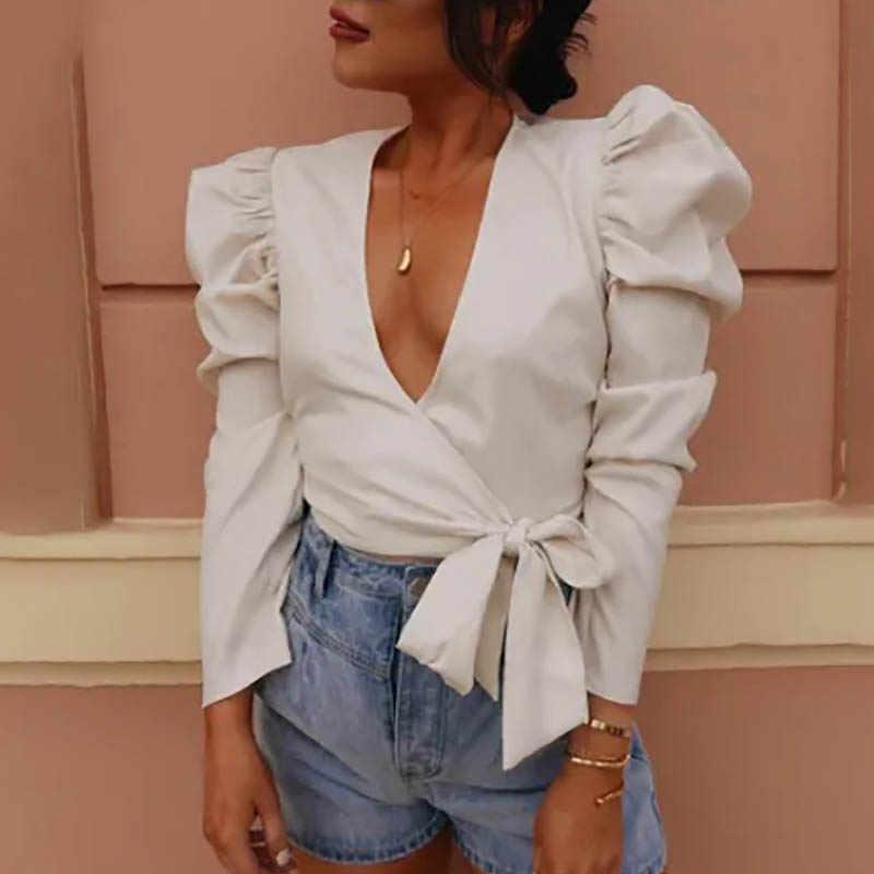 Fanbety/2019 Осенняя пикантная женская блузка с бантиком, пышные однотонные топы с длинными рукавами, женские модные уличные блузы, рубашки 2XL