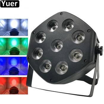New 9X10W RGBW 4IN1 LED Flat Par Light LED Disco Stage DJ Wash Beam Light DMX512 LED Remote Control Par Sound Party Disco Lights прожектор led par 64 involight led par189al