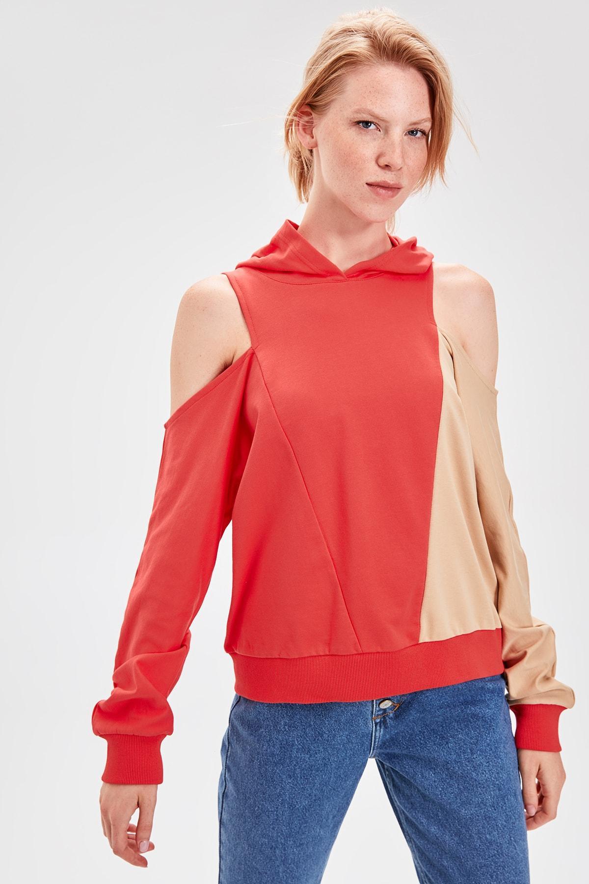 Trendyol Camel Color Blocky Sweatshirt TWOAW20SW0080