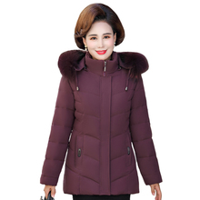Women Coat Real-Fur-Collar Short-Jackets Snow-Wear Hooded Plus-Size Winter Fashion Cotton
