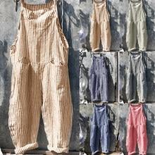 Осенний полосатый Свободный комбинезон для женщин, комбинезон, шаровары, штаны на бретелях, Свободный комбинезон, мешковатые брюки, комбине...
