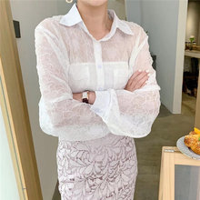 HziriP Lace Women's New Korean Hollow Out Thin OL 2020 All Match Elegance Hot Summer Lapel Exquisite
