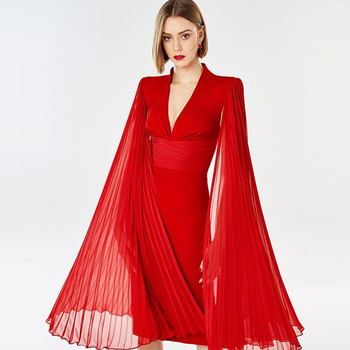 Ocstrade Runway Fashion Red Bodycon Dress 2020 Summer New Arrival Women Deep v Bodycon Dress Sexy Draped Evening Party Dress american living new red poppy draped ruched women s 12 sheath dress $69 400