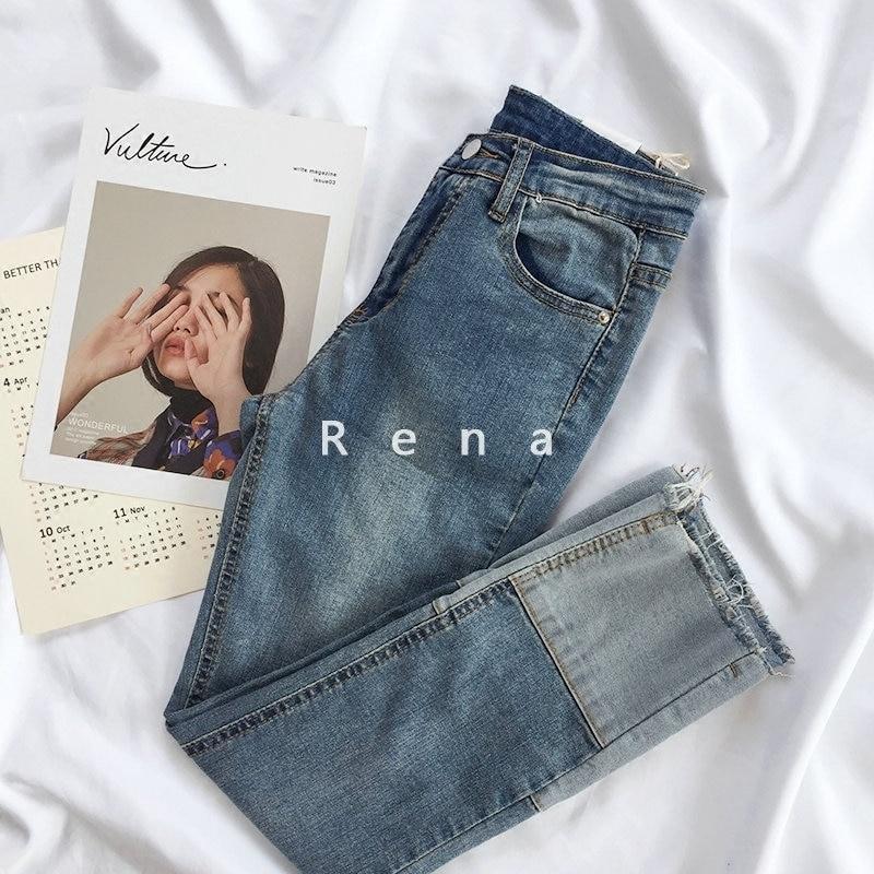 Autumn Women Boyfriend Jeans High Waist Blue Vintage Korean Mom Jeans Denim Pants