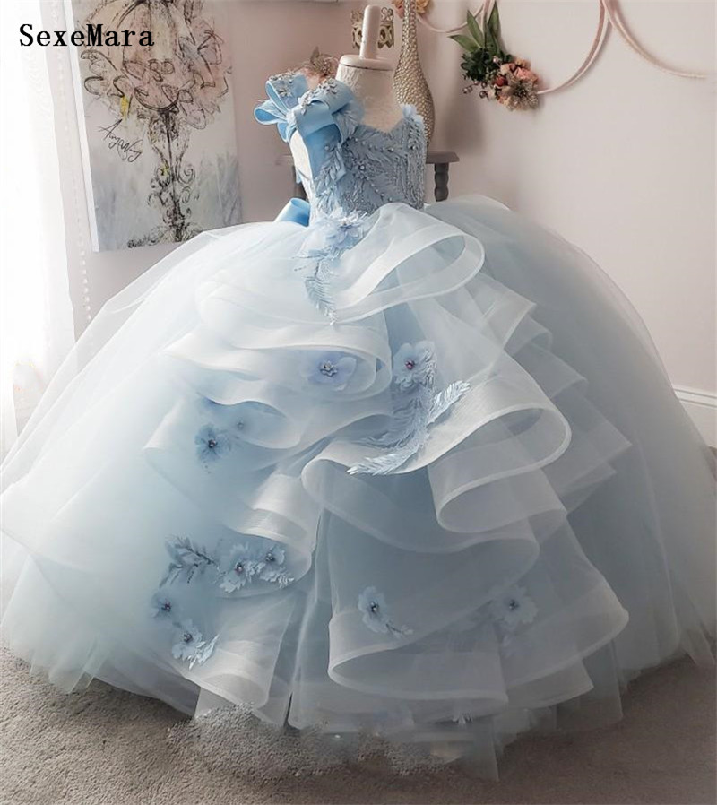 New Pretty Flower Girls Dresses Ruched Tiered Sky Blue Puffy Girl Dresses For Wedding Party Gowns Pageant Dresses Kids Clothes For Birthday Size 9M 12M 18M 24M