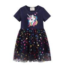 Vestido de princesa con estampado de unicornio para niñas, tutú para fiesta de verano, regalo de cumpleaños, superventas