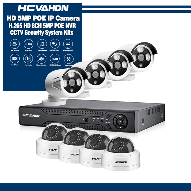 HCVAHDN 8CH 5MP POE NVR Xmeye CCTV System 4.0MP Indoor Outdoor PoE IP Camera IR Night Vision Video Security Surveillance Kits