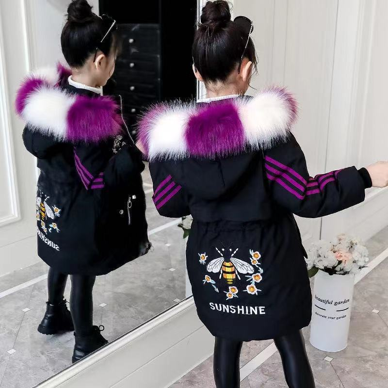 Детская куртка для девочек, зимнее длинное пальто, теплое пуховое пальто с меховым воротником, хлопковая детская одежда, куртка с капюшоном ...