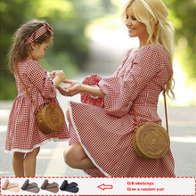 цена на mother daughter dresses Plaid family matching clothes Full  mommy and daughter matching clothes kids dresses for girls Sets