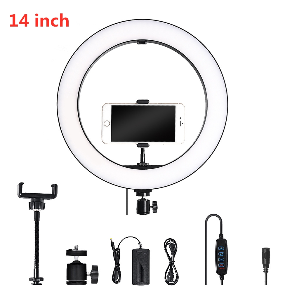 LED Video Light Dimmable Portable LED Ring Lamp 3200K-5600K with 1//4inch Screw//Phone Clip for Camera//Mobile Phone US