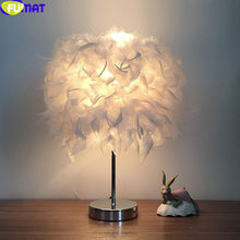 FUMAT Table Lamp For Bedroom LED E27 Feather White Red Bedside Desk Lamps European Style INS Children Girl's Bedroom Table Light(China)