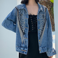 Chaquetas Mujer Autumn Streetwear Denim Jacket Women Hand studded Rivets Tassels Chain Short Jeans Jacket Loose Black Blue Coats