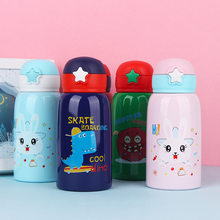Kartun Anak Double Wall Insulated Thermos Thermal Stainless Steel Anak Botol Air dengan Silikon Jerami(China)