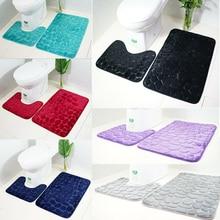 Anti-Slip Toilet Closestool Contour Cover Rug Bathroom Stone Pattern Floor Mat