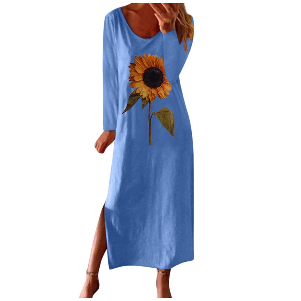 Long Sleeve Sunflower 3D Print Women Long Dresses New Autumn Loose Casual Blue Dress Flower Print Female Maix Dress Big Size 5XL