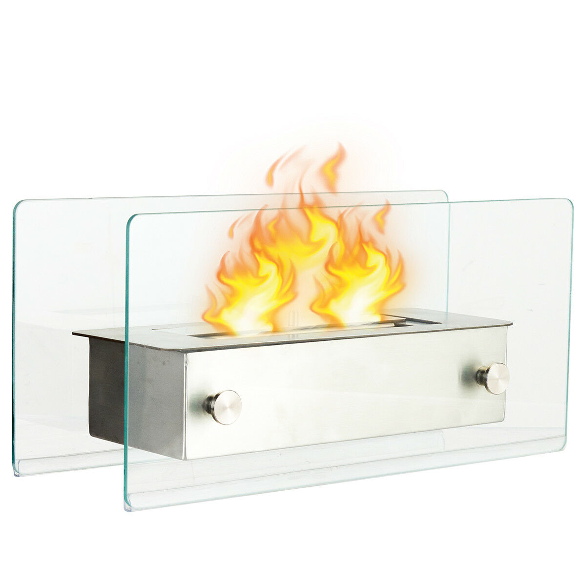 Costway Tabletop Fireplace Portable Stainless Steel Ventless Bio Ethanol