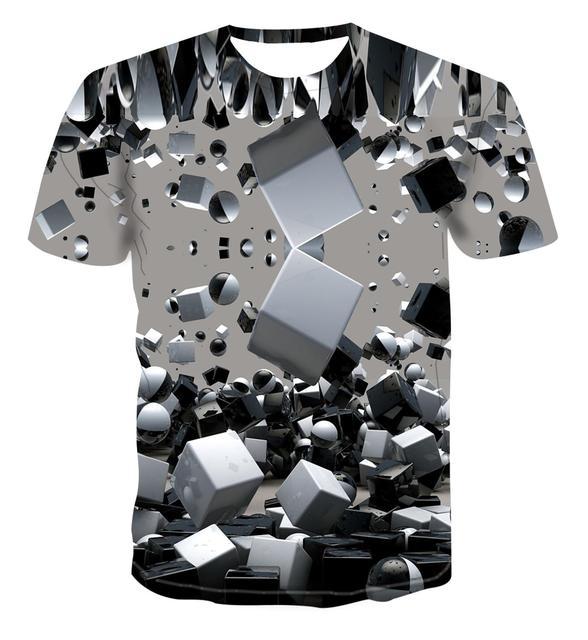 2020 nouvelle mode chaude T-shirt géométrique carré t-shirt hommes simple haut de couleur 3D cool unique impression hommes haut