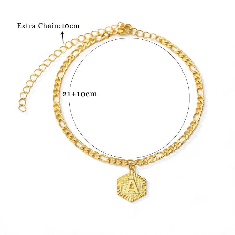 Initial Anklets Bracele for Women Stainless Steel Letter Leg Chain Gold Men Ankle Bracelet A-Z Alphabet Anklet Christmas Gifts 4