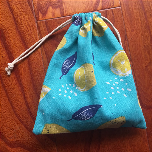 Cotton Linen Drawstring Sorted Pouch Party Gift Bag Print Lemon Blue Base YILE