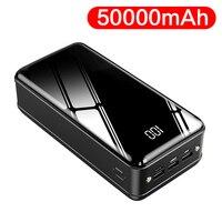 4 usb superior 50000mah banco de potência grande capacidade portátil poverbank bateria externa espelho tela carregador do telefone para xiaomi 9