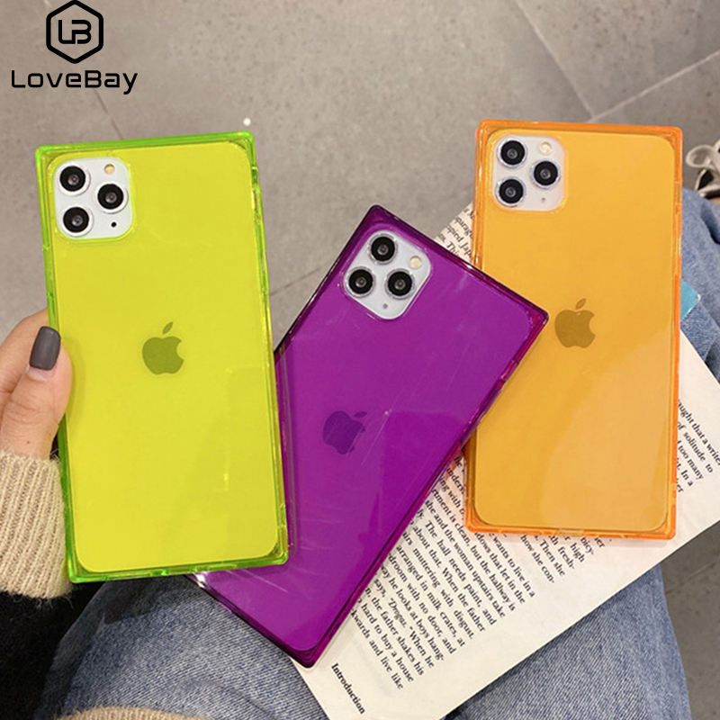 Lovebay Clear Fluorescence Square Phone Case For iPhone 11 Pro Max X XR XS 6 6s 7 8 Plus Gorgeous Frame Shockproof Back Cover