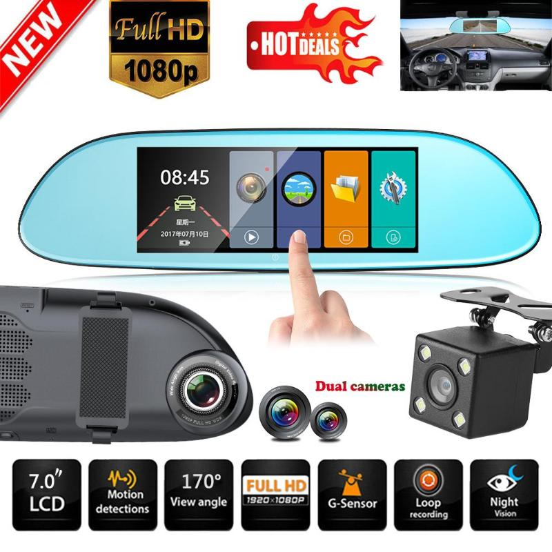 HD 1080P 7/'/' Dual Lens Car DVR Rearview Mirror Camera Recorder Dash Cam G-sensor
