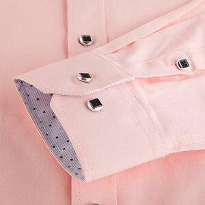 Image 3 - גברים רגילה fit של ארוך שרוול מוצק פשתן חולצה אחת תיקון כיס כיכר צווארון פנימי מנוקדת מזדמן כפתור עד דק חולצות